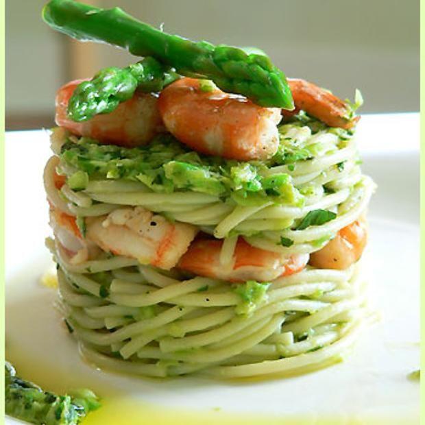 Shrimp Spaghetti And Asparagus Pesto | Mmmmmm! | Pinterest