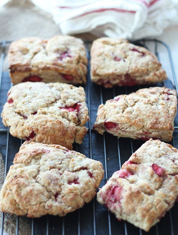 Whole Wheat Strawberry Ricotta Scones | via Channeling Contessa