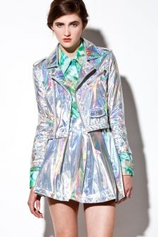 Holographic! Iridescent Hologram Leather Motorcycle Jacket | Thrifted & Modern