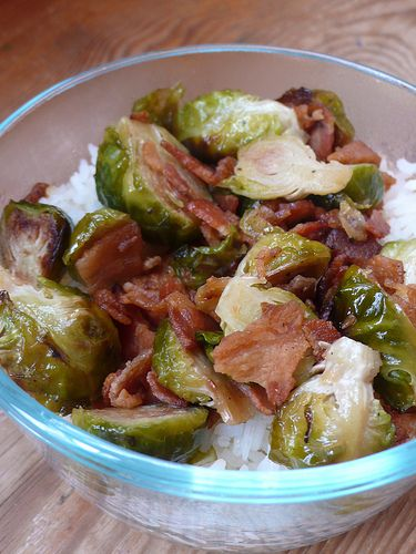 Oven Roasted Brussel Sprouts with bacon and maple syrup