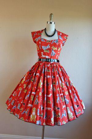 Vintage 50s Bernie Dexter Dress RED DOG NOVELTY