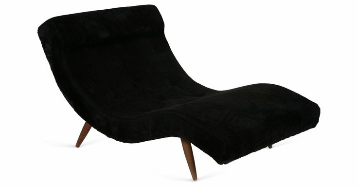 Chaise w wood legs for Chaise longue wave