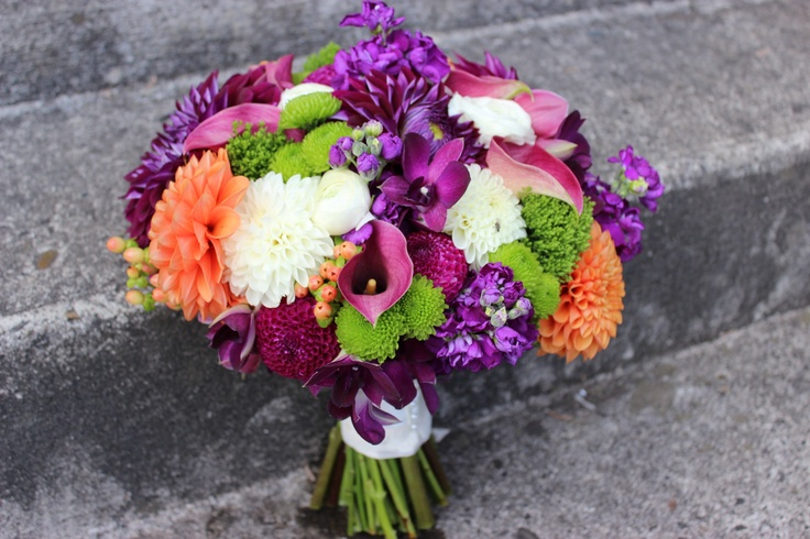 purple orange and green wedding bouquet bridal flowers   calla dahlia  http://sophisticatedfloral.com/ pantone radiant orchid