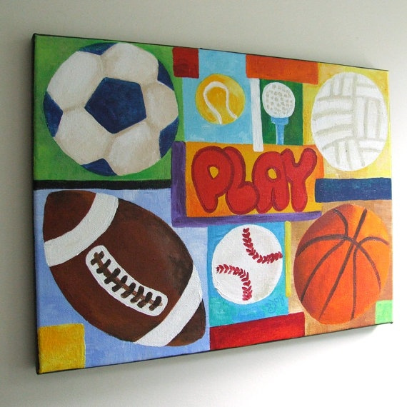 Sports Collage Wall Decor : Wall art for boys rooms play sports collage