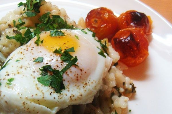 the idea of putting a poached egg on risotto tried the poached egg ...