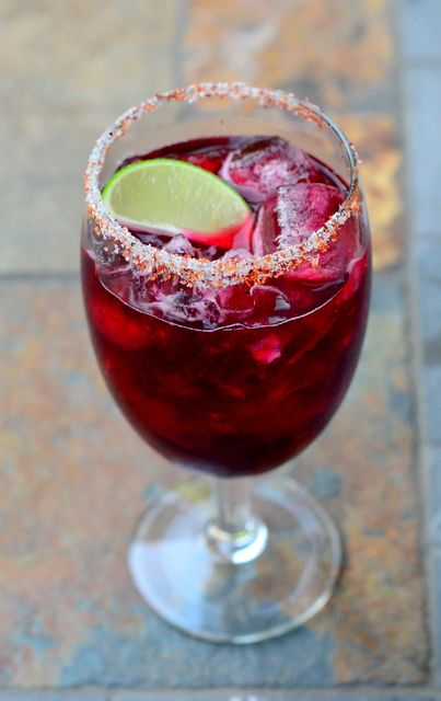 Hibiscus Margarita with Spiced Salt | Cocktails and Dreams | Pinterest