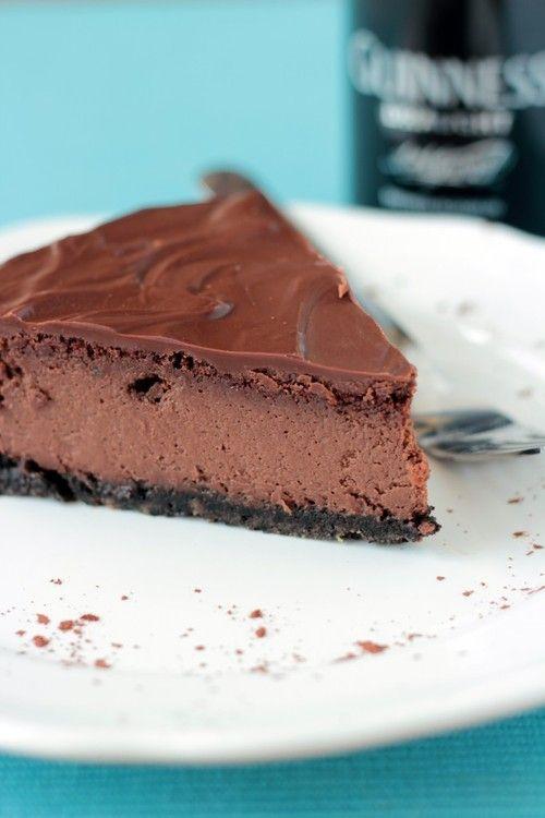 guinness chocolate cheesecake with oreo crust.