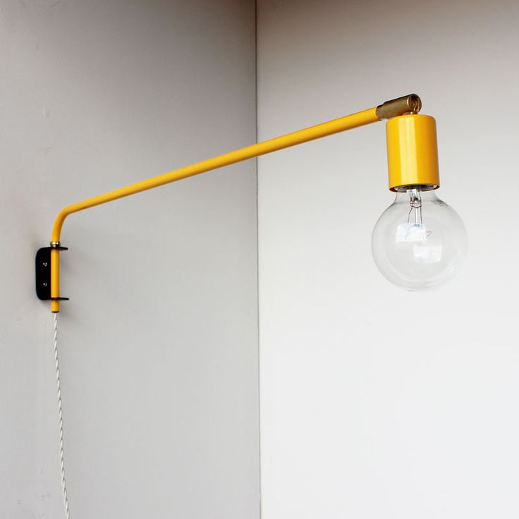 swinging wall lamp in school bus yellow by onefortythree. Black Bedroom Furniture Sets. Home Design Ideas