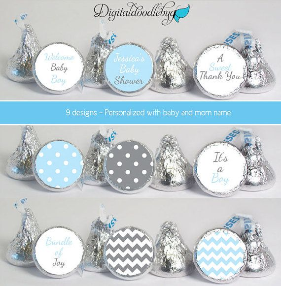 stickers for HERSHEY'S KISSES party baby shower favors (No.25B) boy ...