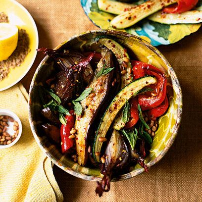 Moroccan Mint Roasted Vegetables Recipe — Dishmaps