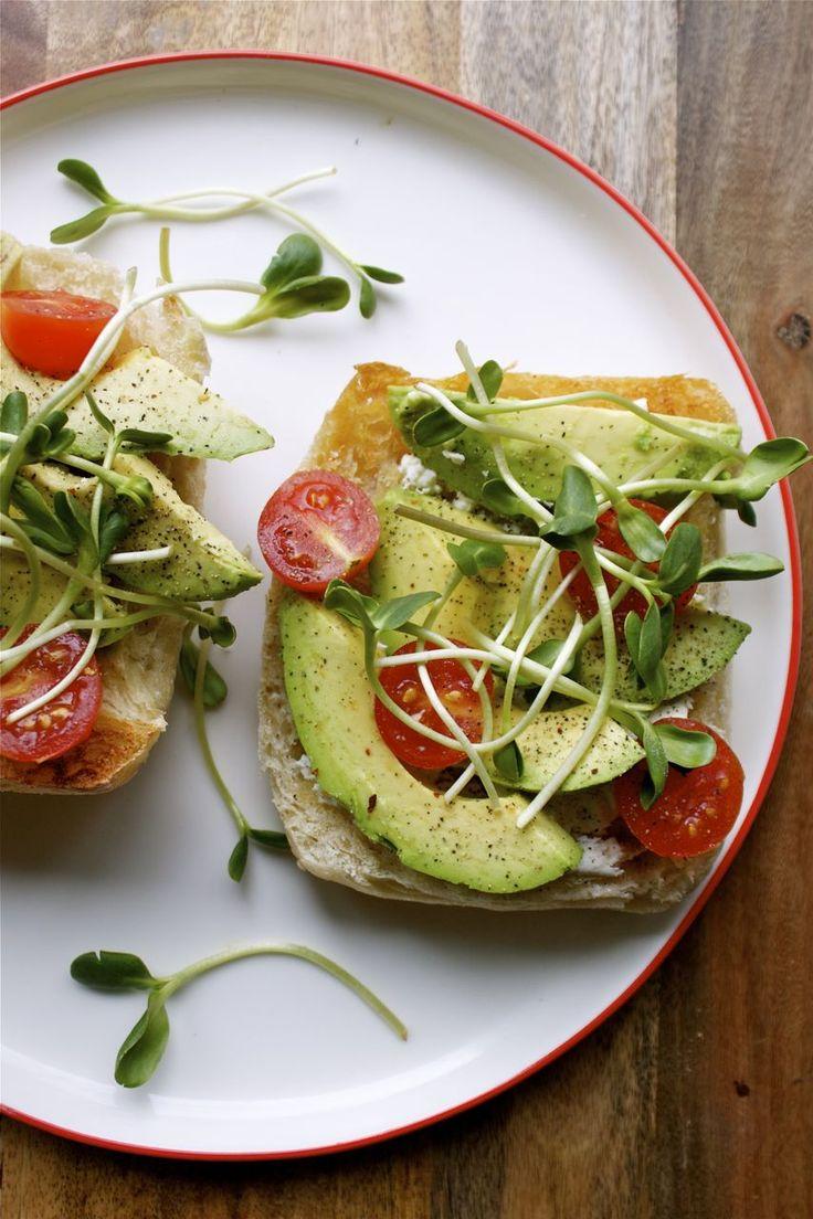 open-faced veggie sandwich with goat chevre, avocado, sprouts & tomato ...