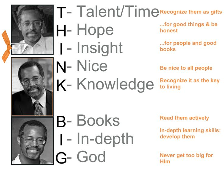 ben carson think big Think big has 2,964 ratings and 287 reviews victor said: ben carson was a young inner-city boy who grew up with out a father his mother was single and.