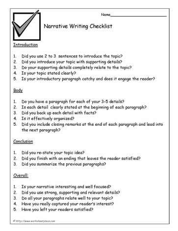 Checklist narrative essay