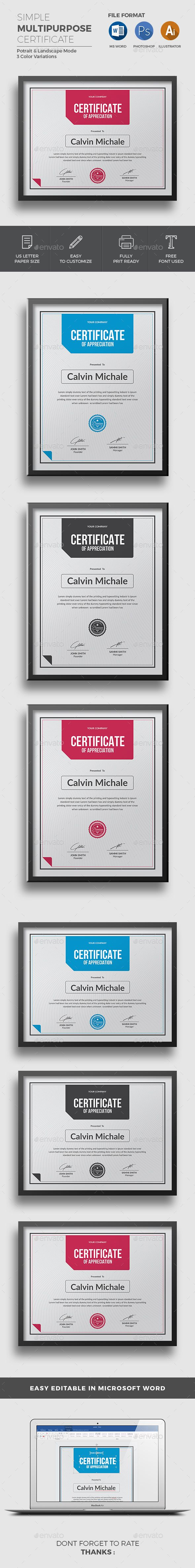 Modern MS Word certificate template Stationery templates - mandegar.info