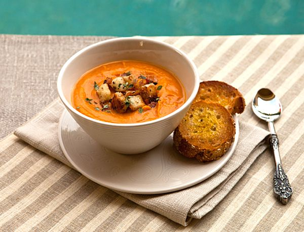 Creamy Sweet Potato Soup With Pancetta Croutons from Italian Food ...