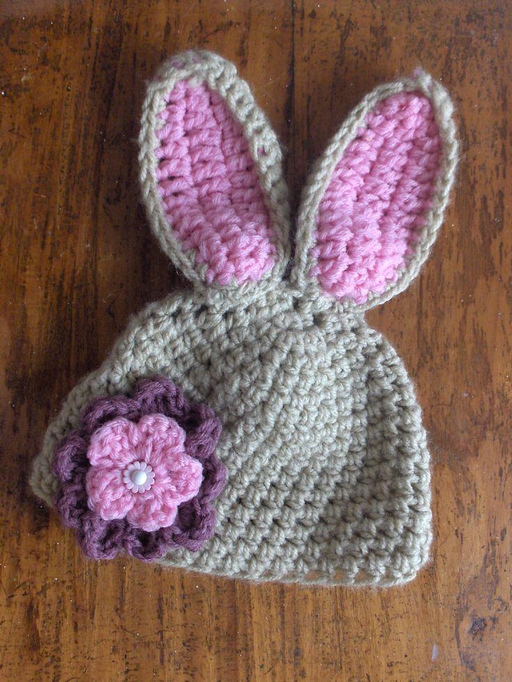 Crochet Bunny Hat With Flower Pattern : Bunny crochet hat :) Crochet Pinterest