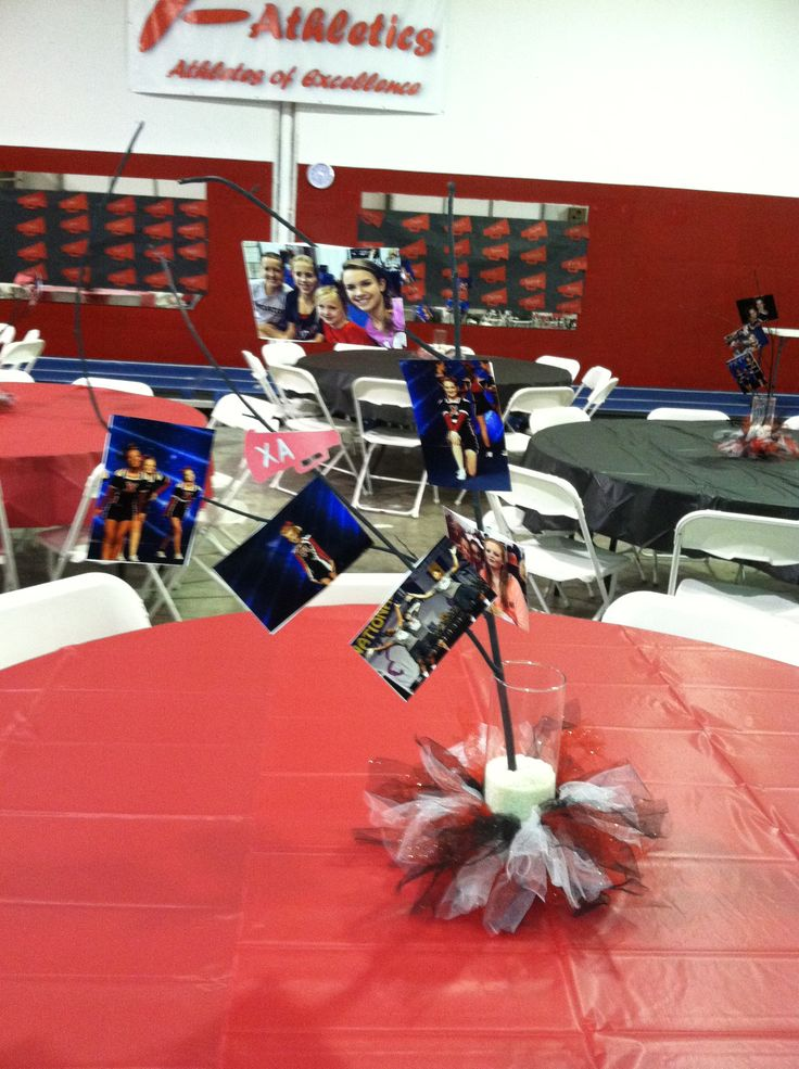 Cheerleading banquet table decorations photograph athletic for Athletic banquet decoration ideas