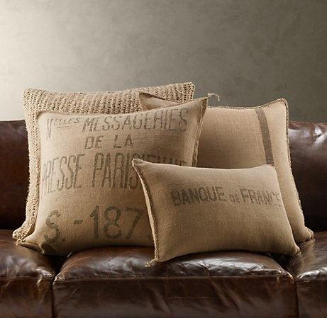 Stenciled burlap pillows.