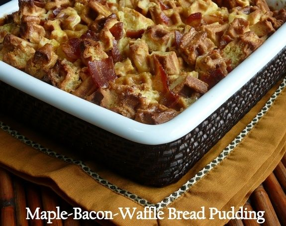 Maple Bacon Waffle Bread Pudding #recipes #foods