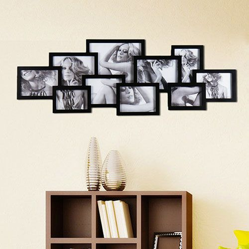 Adeco 10 Opening Wooden Wall Collage Photo Picture Frames