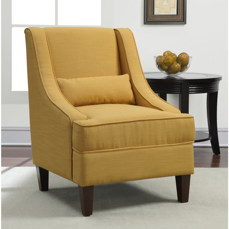 Jenny slope french yellow upholstery arm chair for Upholstered living room chairs with arms