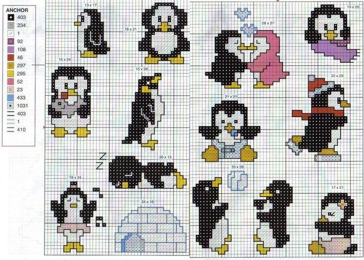 Schema punto croce Pingiuini