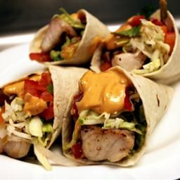 Grilled Fish Tacos with Roasted-Chile-and-Avocado Salsa