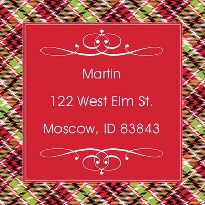 Holiday Plaid Square Address Labels   winter   Pinterest