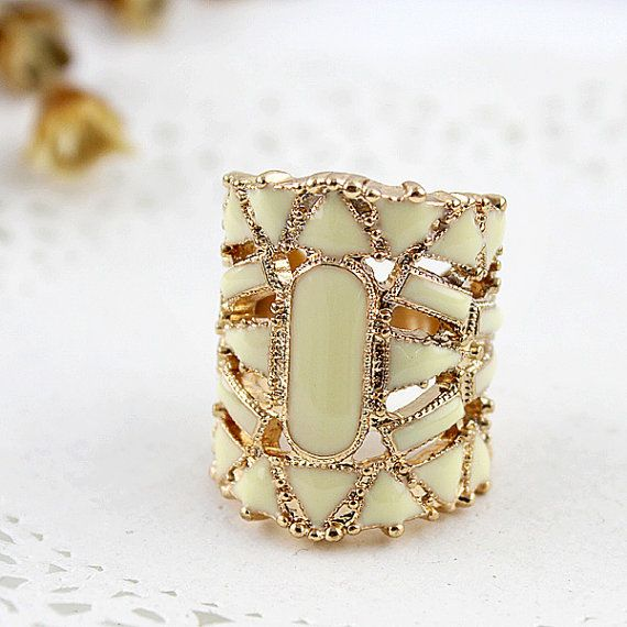 fabulous hollow out fashion ring beige bohemian by DesireJewelry, $14.50