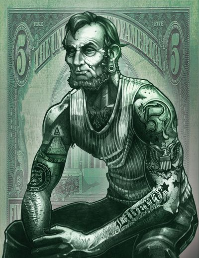 Thug Lincoln In The House! Check out this cool artwork of Lincoln, if he was from Brooklyn.