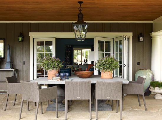 Santa Barbara Design House and Gardens Showhouse | Seating Area designed by Mary McDonald featuring the Large Sussex Hanging Lantern and Small Chelsea Wall Lanterns.