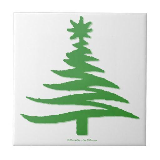 Modern Christmas Tree Stencil Print Green Ceramic Tile by Lee Hiller