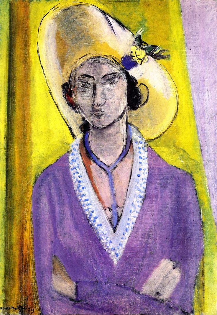 The yellow hat henri matisse 1929 post impressionism for Purple and yellow painting
