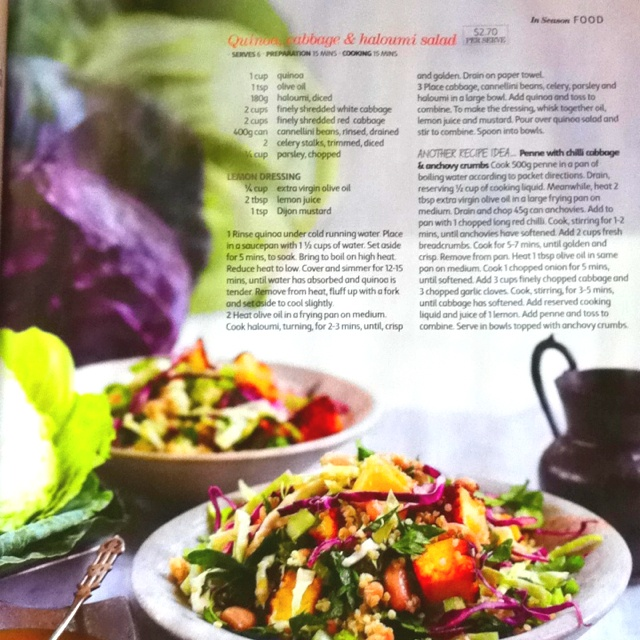 Quinoa, cabbage & haloumi salad | Going to cook it | Pinterest