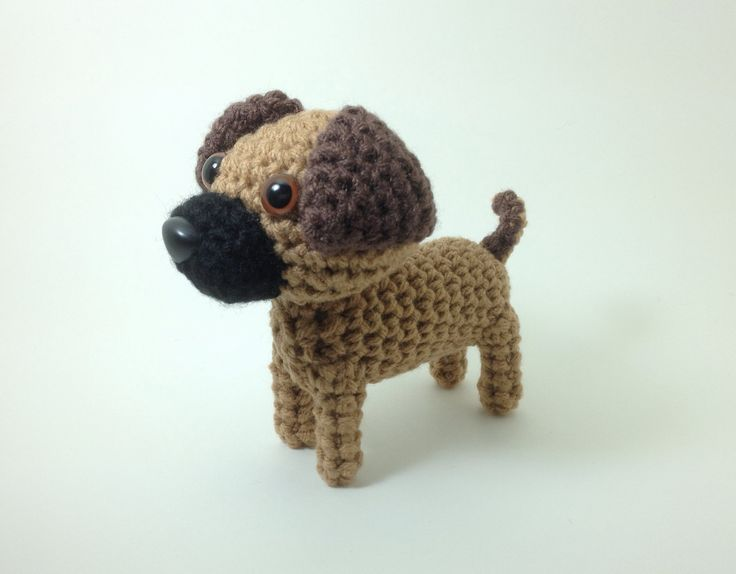 Amigurumi Stuffed Animals : Puggle Stuffed Animal Amigurumi Puppy Crochet Dog Plush ...