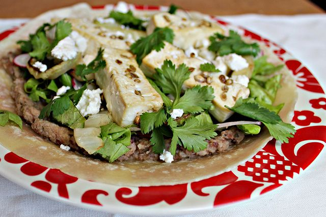"""Coriander Tofu (or Chicken) Tostadas with Refried Beans and """"Grilled ..."""
