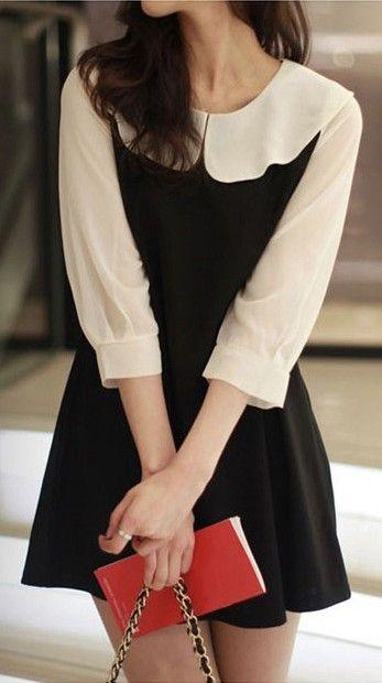 Black and white combination mini dress
