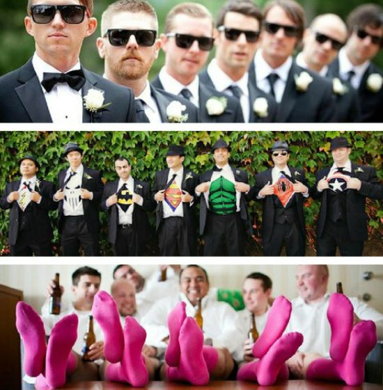 Most Creative Wedding Photos Found on Pinterest... awesome!! I got my man's groomsmen socks for the wedding day and were gonna get them super hero shirts and cuff links. Glad our ideas are popular :-)