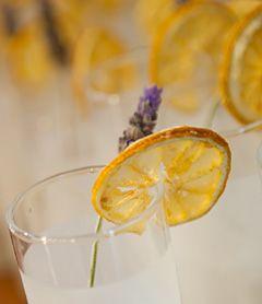 LAVENDER INFUSED GINGER LEMONADE with Sliced Lemon Ginger Garnish
