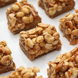 Butterscotch Blondie Bars with Peanut Pretzel Caramel