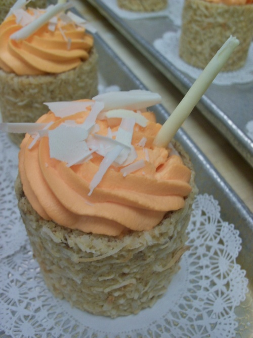 Blood Orange Mousse wrapped in a Coconut Jaconde