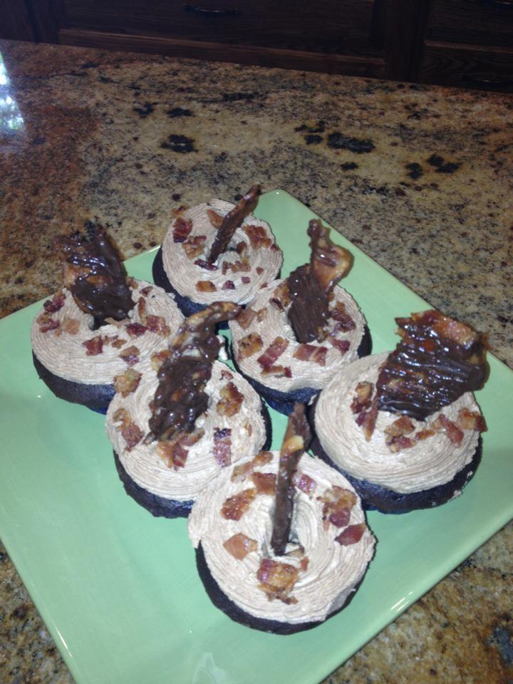 Dark Chocolate Bacon Cupcakes Recipe — Dishmaps