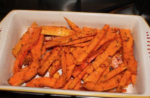 Spicy Baked Butternut Squash Fries Peel butternut squash. Cut in half ...