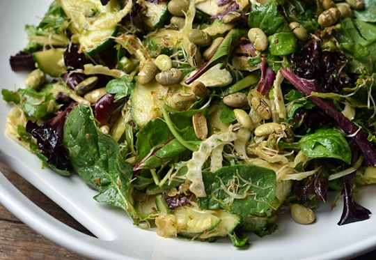 need to eat more miso, Salad with Sprouts & Miso-Lemon Dressing