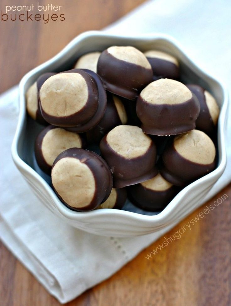 Peanut Butter Buckeyes: a soft peanut butter filled candy famous in ...