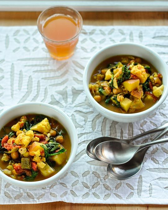 Curried Vegetable and Chickpea Stew olive oil onion potatoes curry ...