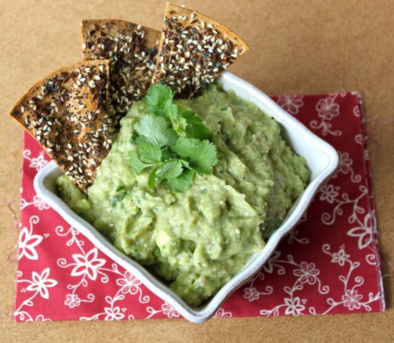 Avocado Tomatillo Salsa with Baked Seeded Tortilla Chips