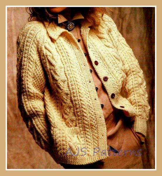 Knitting Pattern For Aran Cardigan : PDF Knitting Pattern for a Ladies Cabled Aran Jacket or ...
