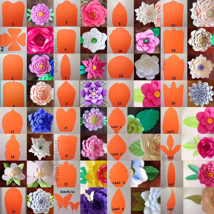 Цветы из бумаги для оформления зала шаблоны 93