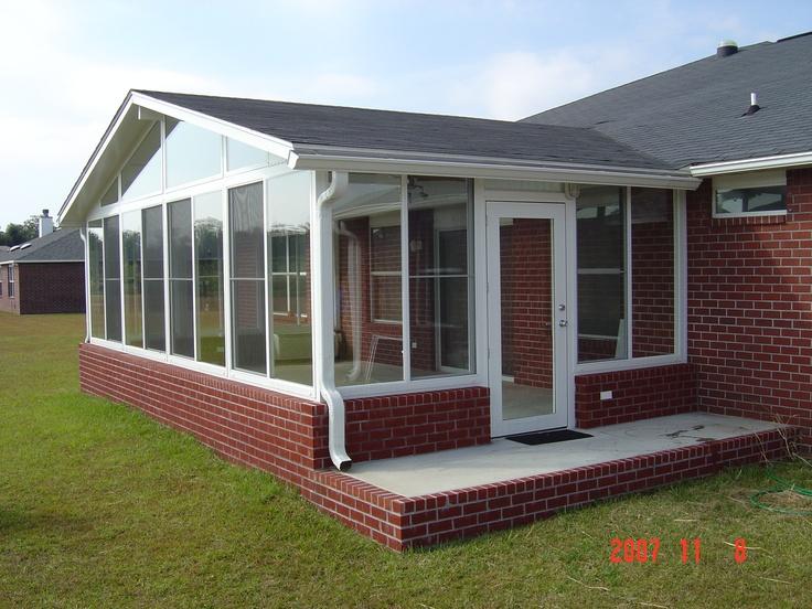 Gabled roof brick kneewall sunroom sunrooms pinterest for Sunroom roofs